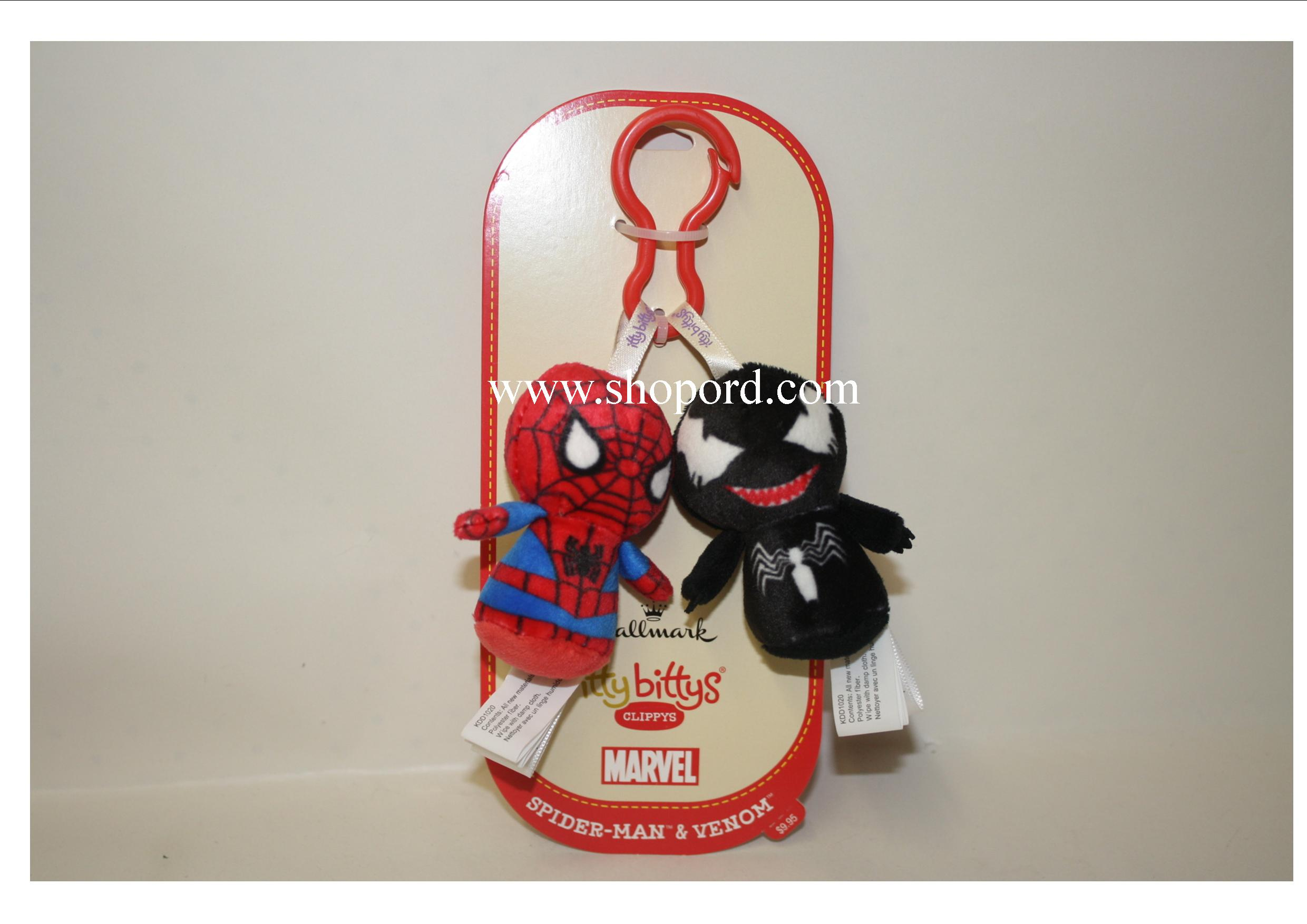 Hallmark itty bitty Clippys Marvel Spider Man & Venom Plush KDD1020