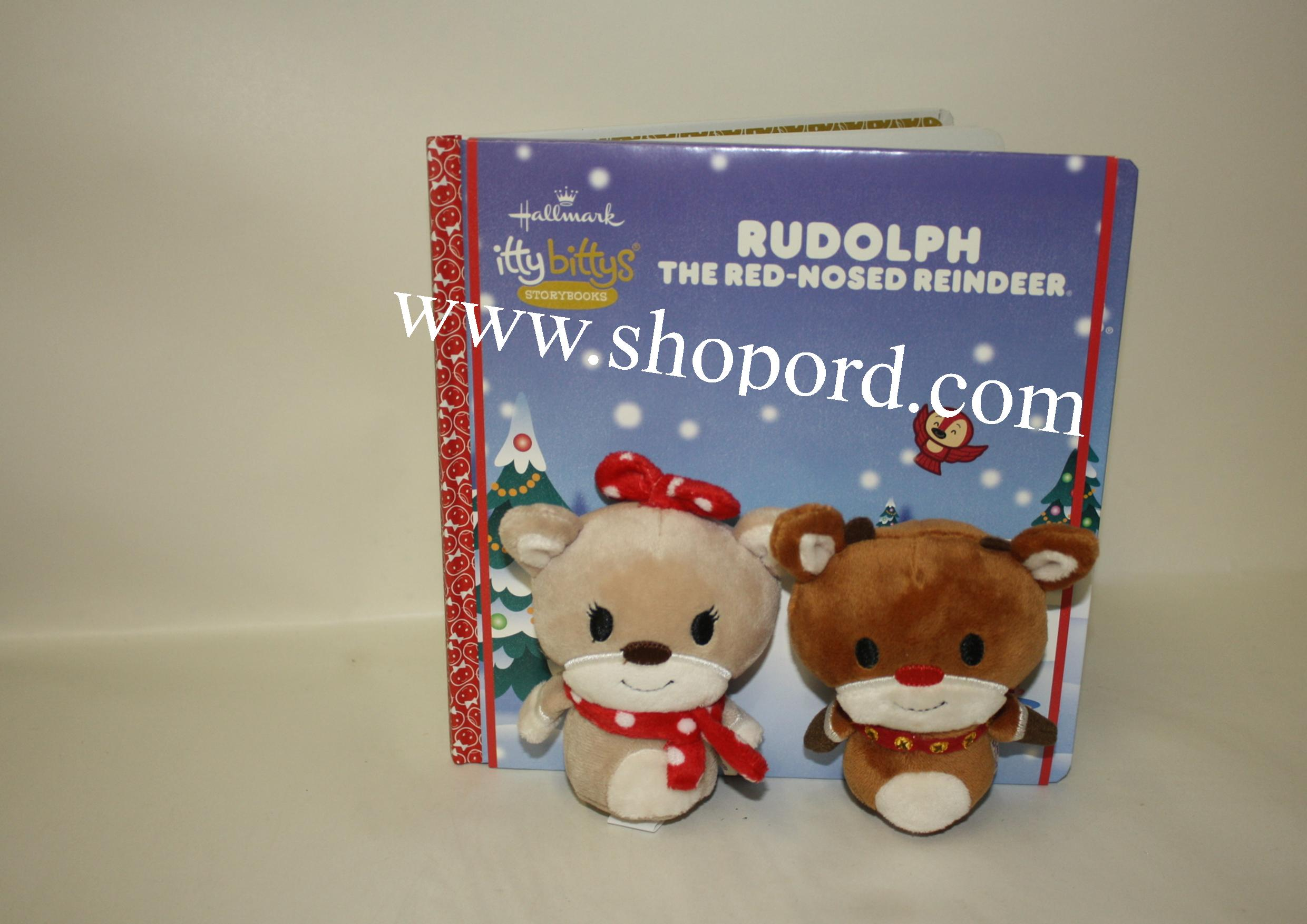 Hallmark itty bitty Rudolph The Red Nosed Reindeer Plush & Hardcover Book KDD1144
