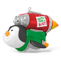 Hallmark 2016 Fly North Pole or Bust Rocket Powered Penguin Musical Ornament QGO1041