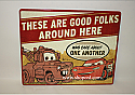 Hallmark Disney Pixar Lightning McQueen and Mater Cars Tin Sign DYG8007