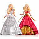 Hallmark 2015 Celebration Barbie Ornament Set Of Two QXI2787