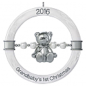 Hallmark 2016 Grandbabys First Christmas Teddy Bear Rattle Ornament QGO1244