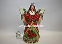 Jim Shore Christmas Beauty Red Green Angel With Poinsettia Figurine 4034378