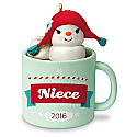 Hallmark 2016 Niece Hot Cocoa Mug and Marshmallow Snowman Ornament QGO1191