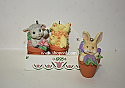 Hallmark 1995 Flowerpot Friends Set of 3 with wooden box Spring Ornament QEO8229