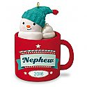 Hallmark 2016 Nephew Hot Cocoa Mug and Marshmallow Snowman Ornament QGO1184