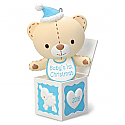Hallmark 2016 Baby Boys First Christmas Teddy Bear In The Box Ornament QGO1251