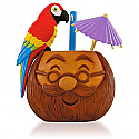 Hallmark 2015 Dont Worry Be Happy Santa Coconut Mug With Parrot and Parasol Musical Ornament QGO1047