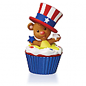 Hallmark 2016 Star Spangled Bear Ornament12th And Final In The Keepsake Cupcake Series QHA1047