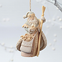 Enesco Foundations Santa with Nativity Snow Globe Hanging Ornament 4026895