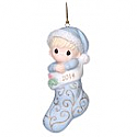 Precious Moments 2014 Baby's First Christmas Boy Ornament 141006